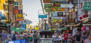 Khaosan Road short street in central Bangkok