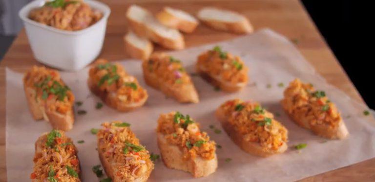 Laab Tuna Crostini (Spicy Tuna Salad Crostini)