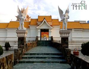 Main Hall Benjarong Wat Pariwas, Thai temple at Rama III Road, Yannawa, Bangkok.